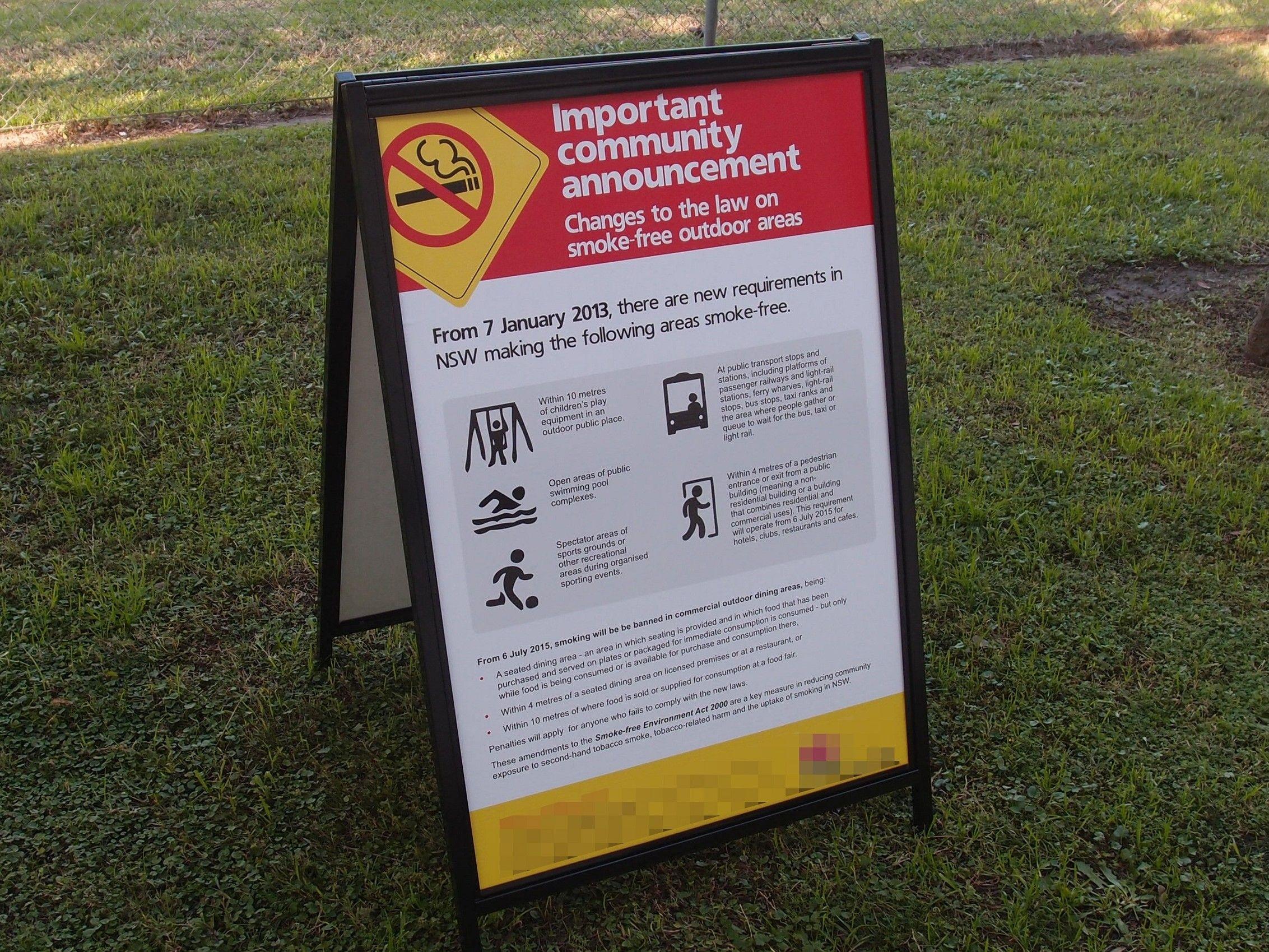 NSW Smoke Free Area Signage