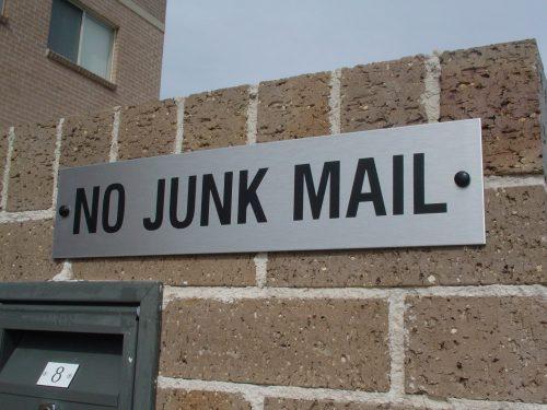 Mail box sign No Junk Mail