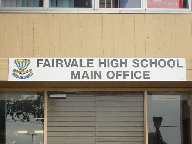 FHS High School Main Office Sign