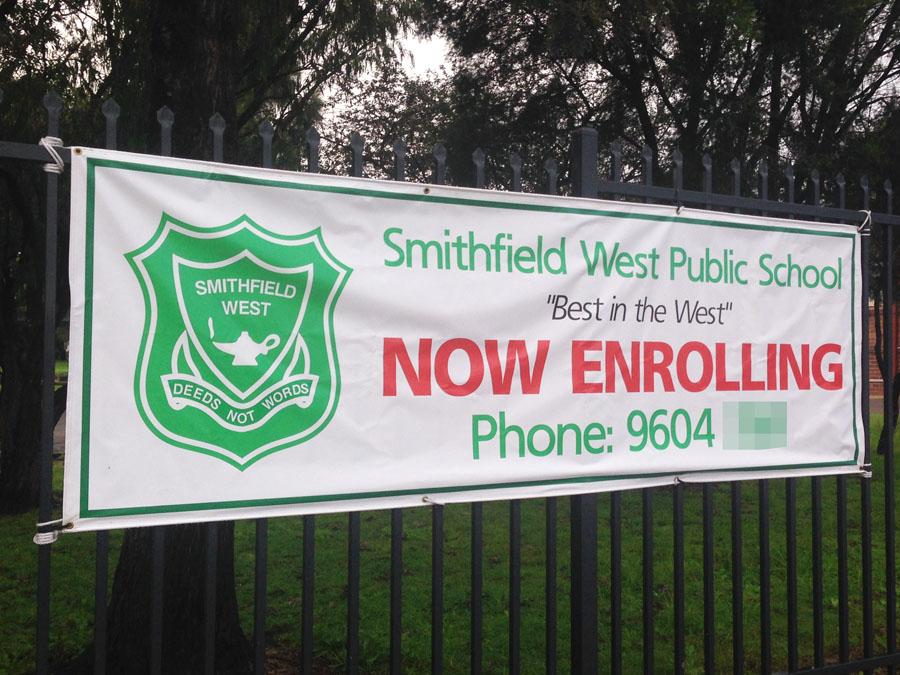 School Now Enrolling PVC Sign