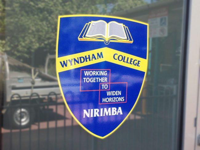 WC School crest window sticker sign