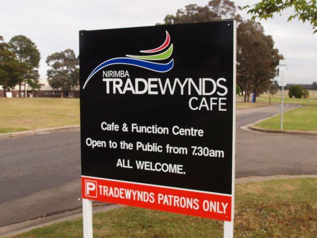 Tradewynds College Student Cafe Restaurant Sign