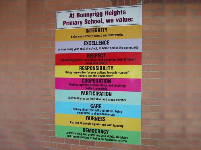 School Values sign
