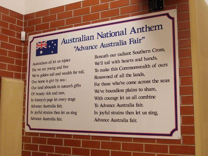 Australian National Anthem school sign
