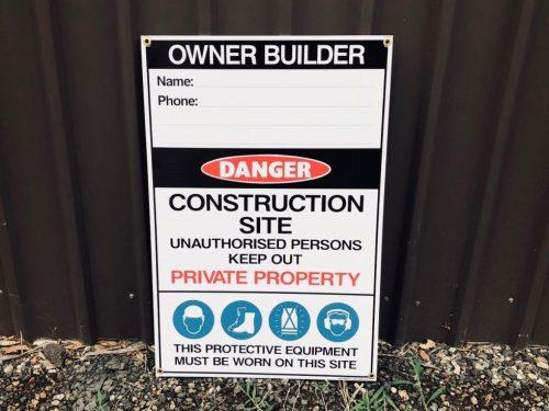 167-4 Owner Builder Safety Sign Multi Message