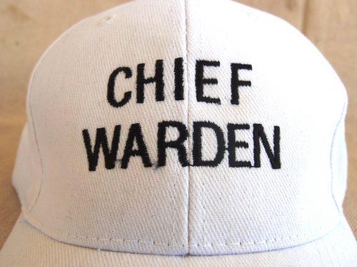White Chief Warden Cap Embroidery