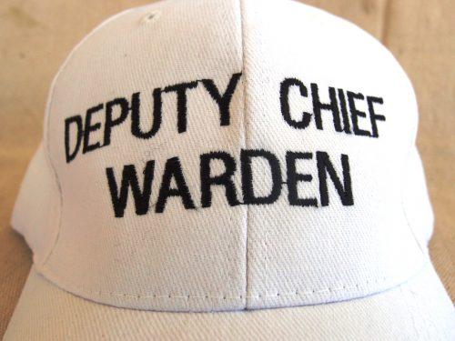 White Deputy Chief Warden Cap Embroidery