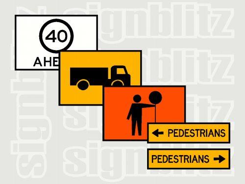 Boxed Edge Temporary Roadwork Signs