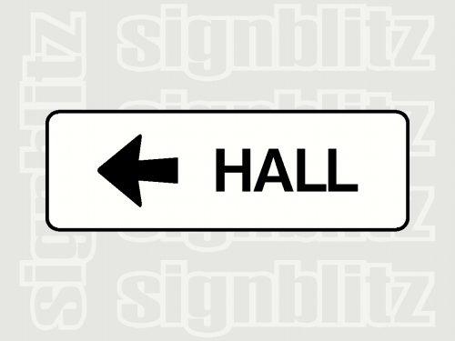 school hall sign left arrow