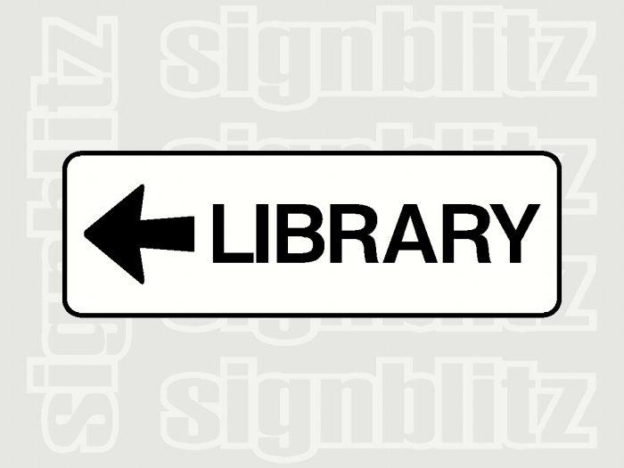 school library sign left arrow