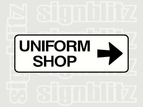 school uniform shop sign right arrow
